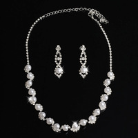 Free Shipping Wholesale Silver Plated Pearl Rhinestone Bridal Necklace Earrings Set, Fashion Jewelry Sets & Wedding Jewelry