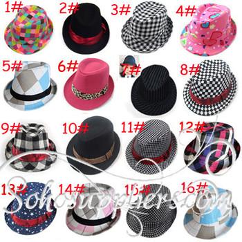 Various Designs Children Kids Fedora Cowboy Hats,Baby Spring Autumn Jazz Cap,Toddler Summer Topee 20pcs/lot freeshipping LM-0062