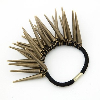 2014 New Fashion Hot-Selling  Low Price Retro Gothic Punk Cute Rivet Spiked Elastic Hairband Hair Jewelry Bronze H4