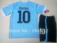 12/13 Uruguay Short Sleeve Home Blue Soccer Kit Jersey Shirt & Shorts Forlan 10 Adult Sizes W/Logo FREE SHIPPING