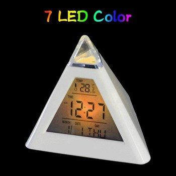 7 LED Color Change Alarm Clock Pyramid Triangle+ Digital LCD