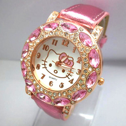 free shipping holiday sale hotest pink Leather Hello Kitty Watch New Arrival Crystal quartz Watch Fits For Child 1072(China (Mainland))
