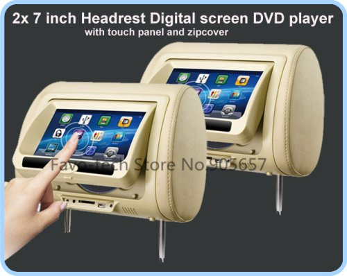 2 x 7 inch Pair HD Touch Screen Car Headrest Monitor DVD/USB/SD Player Game. BLACK/GREY/BEIGE COLOR Optional(China (Mainland))