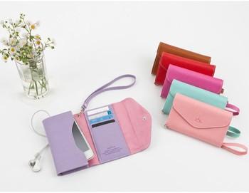 Korea Style Novel Crown Mobile Phone Card Holder Purse Wallet Smart Fold Pouch women clutch free shippingACT