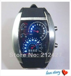 1PCS/lot fashion aviation watch,12color leather band blue led light,black/silver frame,digital movement,special for men/women(China (Mainland))