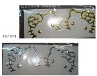 Free shipping  hello kitty car stickers  3D Car sticker  10*6 CM  Silver or Gold color can choose 5  pairs\lot  CXT030