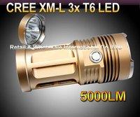 Skyray King Flashlight 3 Mode 5000 Lumens 3xCREE XM-L XML T6 LED Flashlight By 4* 18650 Battery High Power Torch
