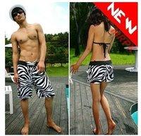 Hot Sale New Fashion Zebra Grain Lovers Leisure Breaches short Pants Trousers Couples fashion Shorts 2pcs/lot