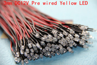 3mm Yellow LED Lamp Pre Wired 20cm 12V DC For Car  Boat  Project  and DIY 100pcs/Lot Free Shipping