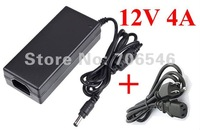 High Quality AC 100-240v to DC 12V 4A Power adapter supply 5.5mm x 2.5mm & 5.5mm x 2.1mm wholesale Lot Free shipping 30pcs