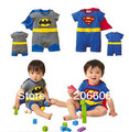 free shipping new hot 100% cotton baby romper baby costume cartoon baby clothes super man&batman