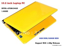 DHL Free Shipping - 10inch Laptop PC Notebook OS Windows XP RJ45 WIFI Camera CPU INTEL ATOM D425 1.8GHZ 4GB Memory HDD 320GB