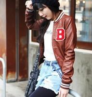 Now American flag standard women's slim short design leather clothing.women coat.fur jacket free shipping