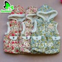 China Wind Sunlun Free Shipping SCG-9006 Girls' Flower Printed Pattern Waistcoat