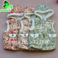 China Wind Sunlun Free Shipping SCG-9006 Girls' Flower Printed Pattern Waistcoat
