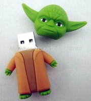 Full 4GB 8GB 16GB 32GB JEDI MASTER YODA USB 2.0 Flash Pen Drive U-disk Memory Card Stick Mobile Storage Devices + Free Shipping!