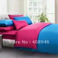 120213 free shipping wholesale- 40s 100% Sateen cotton hot Rose red +bluecolor luxury bedding set/4pcs duvet cover/ home textile