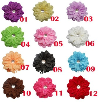 12pcs / Lot Peony Flower Hair Clips artificial flower For  Baby  Infant Toddler  Headband  hair Jewelry   free shipping