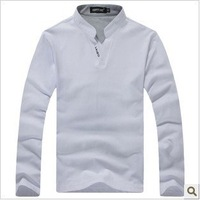 Free shipping 2013 Spring and Autumn's new style leisure comefortable Slim V-neck long-sleeved  shirt the top sale shirt