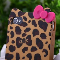 Cute 3D BOW Leopard Hello Kitty TPU Soft Case Cover for iPhone 4 4G 4S