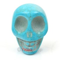 Wholesale - Free shipping 18pcs Popular Charming Fashion Available Dyed Turquoise Skull Ring Face Gemstone cabochon 111469