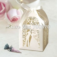 "Wholesales 120pcs  2""*2""*3"" Laser Cut  Bride  Groom Wedding Favor box in Pearlescent Paper Ivory with Ivory Ribbon"