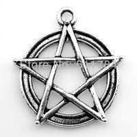 60pcs/lot 2 color 28mm vintage antique silver, antique bronze plated star pendant charms