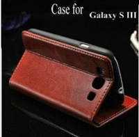 Multi-Fonction business wallet case for samsung i9300 high quality PU leather case for galaxy s3 with free touch pen as gift