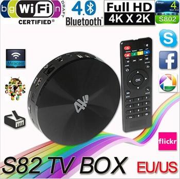 Bluetooth 4.0 WIFI Media Player Android 4.4 S82 Amlogic S802 Quad Core Mali450 GPU Support 4K 2G/8G XBMC DLNA Smart TV Box