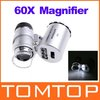 60X Pocket Magnifier Microscope Loupe LED Currency UV Freeshipping Dropshipping(China (Mainland))