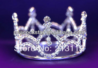 Bridal Wedding Party Baby / Flower Girl Rhinestone Full Circle Round Mini Tiara Crown CT1040