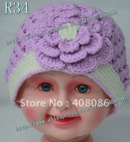 HOT !wholesale 30pcs/lot 100% cotton knitting baby hats lovely flower caps for baby girl princess hats 2012 new design patterns