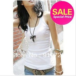 Free Shipping Summer hot-selling woven cotton rib knitting women's tank Tops long design(China (Mainland))