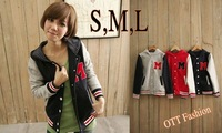 2014 Autunm and Winter Letter M Varsity Jacket Long Sleeve Baseball Coat Korean Mandarine Collar Sportwear S,M,L #3015