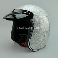 Free shipping/Motorcycle helmet/Jet helmet/Vintage helmet/Fiberglass helmet/Open face retro 3/4 half helmet/silver