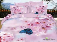 Rosa elegante flores 3d capa conforto queen size 4 pcs 100% algodão borboleta capa de edredon conjuntos de cama roupa de cama conjunto de folhas de cama(China (Mainland))