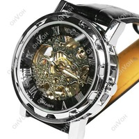 S5Q New Automatic Mechanical Skeleton Black Leather Wrist Silver Auto Men Watch