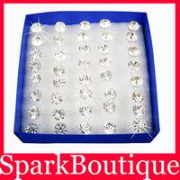 5mm Crystal Stud Earrings CZ Stud Earrings Zircon Stud Earrings 40pairs/lot Free Shipping F1 WG