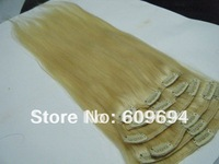 """18"""" 20"""" 22"""" 60# 180g/set Indian Remy Human Hair Clip in Hair Extensions platinum blond wholesale13"""