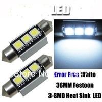 Freeshipping 100pcs/lot white No Errors Canbus 3smd 5050 12V 36mm 39mm LED Car led License Plate Light LED Festoon Light Bulbs