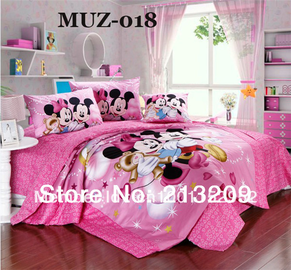 HOT SALE blue colore mickey mouse printing baby bedding,twin or queen size 3/4 pcs bedding set,square corner sheet,free shipping(China (Mainland))