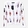 Free shipping Colored drawing print rabbit lady pattern long-sleeve sweater cardigan women outerwear