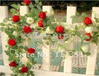 10pcs 6.8ft Artificial 3 Colors Rose Garland Silk Flower Vine Ivy Home Wedding Garden Decoration