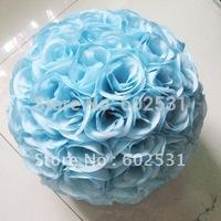 25cm lake blue wedding flower ball plastic center silk kissing ball,party & celebration decoration flower