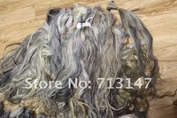 grey hair bulk  490g/lot unprocessed raw hair bulk