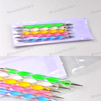 10pack/Lot 5Pcs 2-way Dotting Pen Marbleizing Tool Nail Polish Paint Manicure Dot Nail Art Set Free Shipping