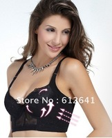 Free shipping!! Sexy B C Cup Push Up Bra 6 Hook Over Width Side Support Plunge Cleavage U back