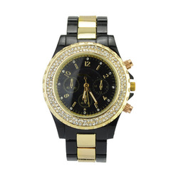 Hot Sale! IPG Electroplate Ceramic Style 3A Rhinestone Women Men Unisex Gift Watch ,Christmas Gift(China (Mainland))