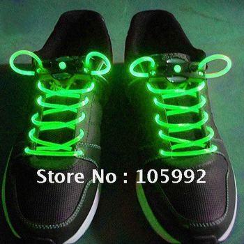 Wholesale - LED Flashing shoelace light up shoe laces Laser Shoelaces fashion gifts change 7 colors 1PAIRS