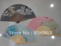 [China Confucian Arts]500pcs/lot free shipping of folding hand fan/100%silk +bamboo frame/japanese style  for best gift